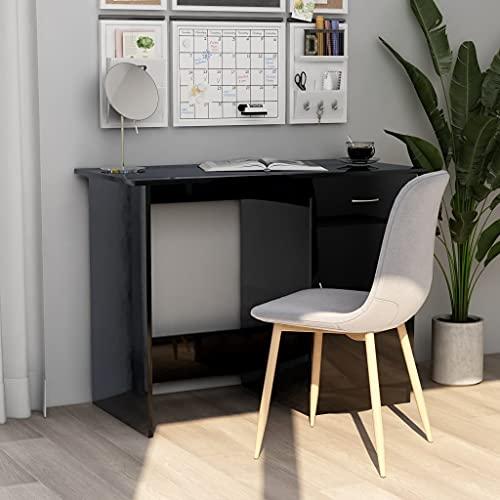 Escritorio de computadora, Escritorio para Juegos Escritorio de Trabajo PC Escritorio de Mesa para computadora portátil Escritorio de Alto Brillo Negro 100x50x76 cm Aglomerado