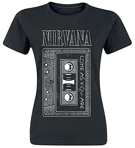 Nirvana As You Are Tape Mujer Camiseta Negro M, 100% algodón, Regular