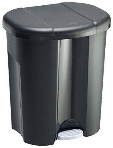 Rotho 1761108851 Trio Mülleimer zur Mülltrennung mit 3 Fächern, Kunststoff (PP), schwarz, 1x10 L + 2x15 L (49 x 42 x 58.5 cm)