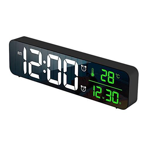 CUHAWUDBA Reloj Despertador Digital Dual para Dormitorio, Oficina de Noche, Relojes de Escritorio con Espejo USB, Pantalla LED de Fecha y Temperatura, Color Negro