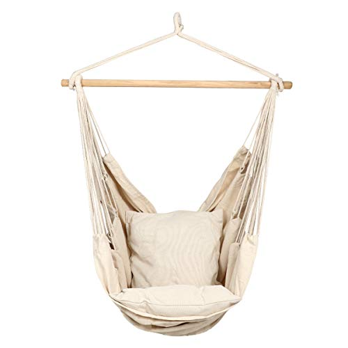 TDRTECH Hanging Rope Hammock Chair Swing, Cotton Rope Porch Chair for Indoor, Outdoor, Garden, Patio, Porch, Yard - 2 Seat Cushions Included (Rainbow)