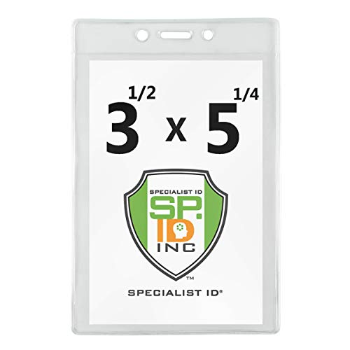 """100 Pack - 3 1/2"""" X 5 1/4"""" Large Badge Holders - Clear Plastic Name Tag Sleeves, Vaccination Card Protector, Concert Ticket, Press Pass or Sporting Event Holder by Specialist ID (4X6 Outside)"""