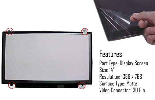 """Price comparison product image AJPARTS UK 14"""" Laptop LED LCD Matte AG Screen Display for LG Philips LP140WH8-TPK1 WXGA HD 30 Pin no Touch 1366 X 768"""
