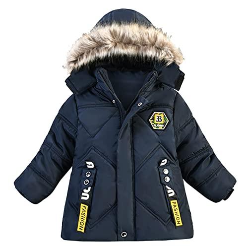 YOYORI Baby Unisex Hooded Plush Coat Clothes - Boys Girls Winter Jacket Warm Thick Outwear Coats (Dark Blue, 8-12 Months)