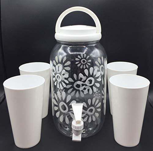 Set de Dispensador de Bebidas Frías con grifo de 3.8 litros con 4 vasos reutilizable de agua para bebidas plástico sin BPA. jarra dispensador con grifo de Bebidas de autoservicio blanco