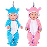 K.T.Fancy 2 Sets 16-18 Inch Baby Doll Clothes Unicorn Jumpsuit Pajamas with 2 Shoes for 43cm New Born Baby Doll and American 18 Inch Girl Doll