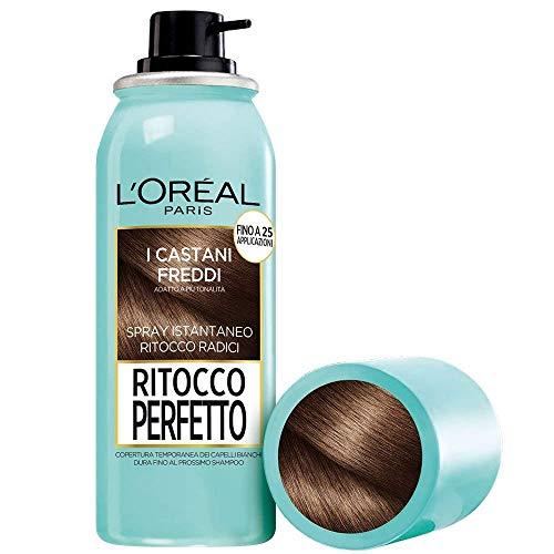 L'Oréal Paris Ritocco Perfetto Spray Ritocco Radici, Colorazione Temporanea Ricrescita, Copre i Capelli Bianchi e Dura 1 Shampoo, Castano Freddo 75 ml