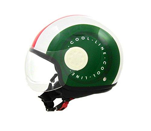Project Jet Motorradhelm, zugelassen gemäß ECE 22.05E3,mit Einsätzen aus Leder, ModellSmarty 02, Farben der italienischen Nationalflagge XL1 - 59CM ITALIA