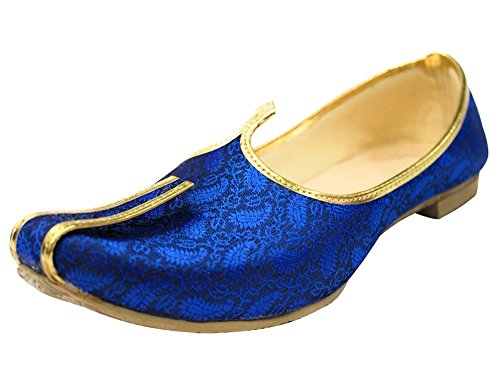 Step n Style Blue Mojari for Indian Mens Tradition Ethnic Jutti and Sherwani Shoes for Wedding (11.5)