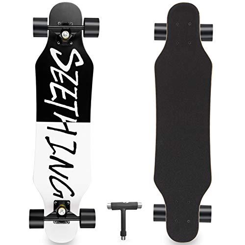 "Skateboard Complete 7 Layers Deck 31""x8"" Skate Board Maple Wood Longboards for Adults Teens Youths Beginners Girls Boys (Black)"