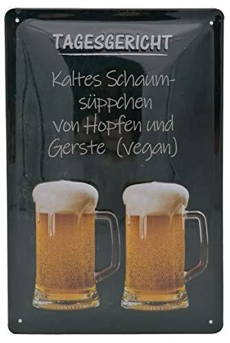 Bier Schild Tagesgericht, lustiger Spruch, geprägtes Blechschild 30 x 20 cm, Hopfen und Gerste vegan - Wanddekoration - traditoneller Gasthof - Bayern - Prost