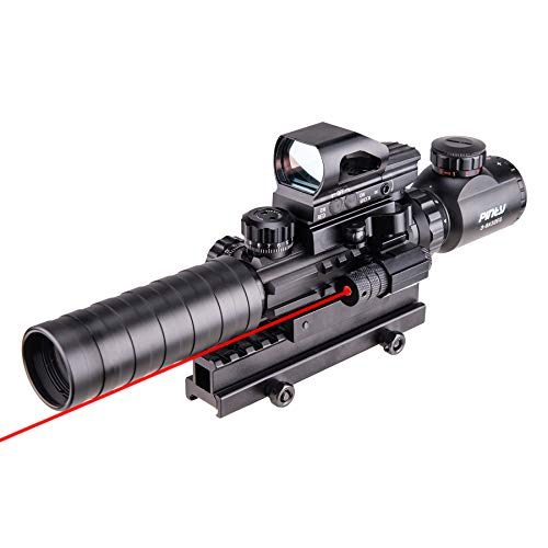 Pinty Rifle Scope 3-9x32 Rangefinder Illuminated Reflex Sight 4 Reticle Red Dot Laser Sight with 14 Slots 1 inch High Riser Mount