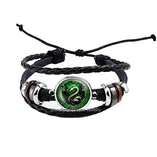 Waozshangu Pulsera inspirada en la película de las reliquias de la muerte Steampunk serpiente brazalete para mujer joyería de cristal para hombre, PU193
