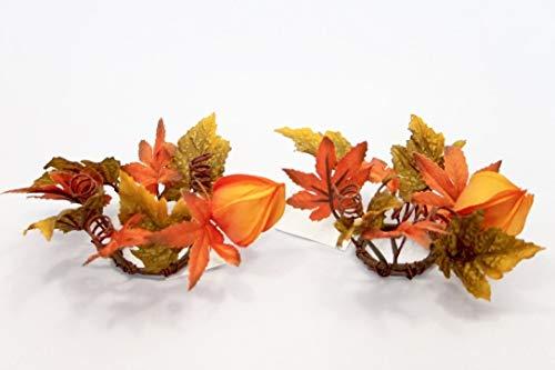 Herfstblaadjes Kaars Ring Koper en Verbrand Oranje Geschikt voor 1