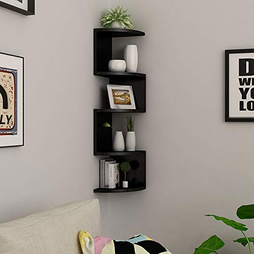 Finetree 3D Wall Mounted Floating Corner Shelves 5 Tier Zig Zag Shelf Bookcase Storage Display Decor - Black