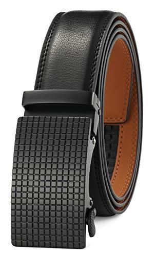 GFG Cinturón de cuero para hombres con hebilla automática 35mm Ancho-0024-110-Negro