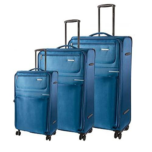 Sirocco - Juego de equipaje suave de 4 W (3 piezas, peso ligero, 4 ruedas giratorias), Teal, o,
