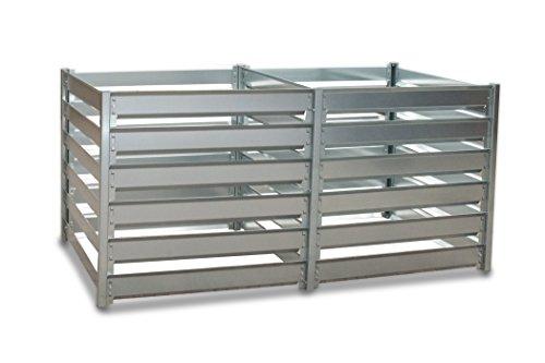 myowngreen Komposter - 93 x 182 x 87 cm (B x L x H) Doppelbox - aus feuerverzinktem Metall - individuell endlos erweiterbar - Trennung von frischem und Reifen Kompost - langlebiges Stecksystem
