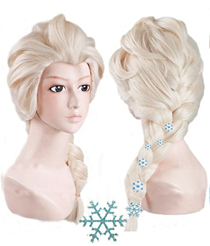 Anogol+{ 6 Hairpins } Princess Wig for Kids Blonde Cosplay Wig Party Wigs Braid Synthetic Hair