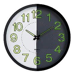Lafocuse Luminous Black Metal Wall Clock with Glowing Numerals Silent Quartz Clocks for Living Room Bedrooms 12