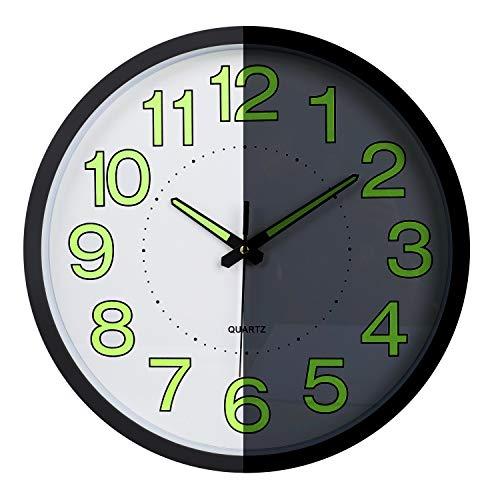 Lafocuse Reloj de Pared Luminoso Silencioso Metal Reloj Cuar