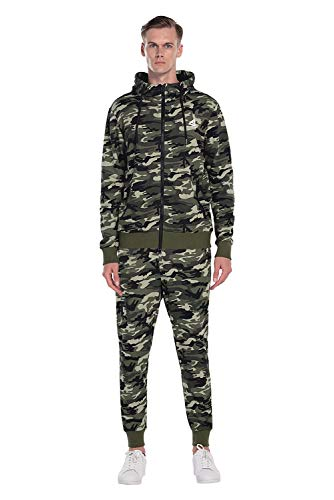 Extreme Pop Hombre Sudadera con Capucha Sudaderas con Cremallera Completa Chaqueta de Camuflaje con Estampado Reflectante UK Brand (XL, Verde camuflaje1)