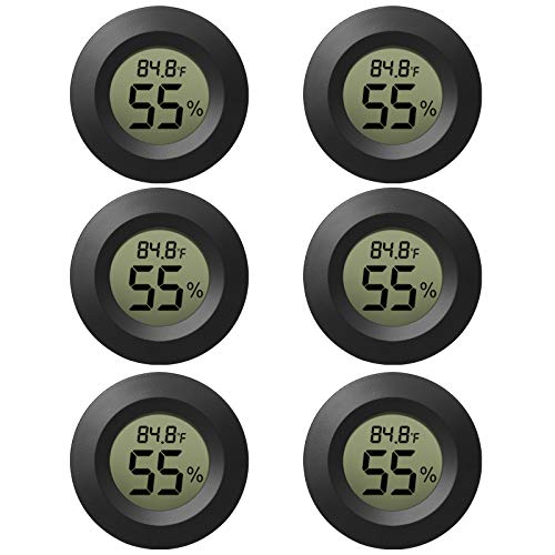EEEkit 6-Pack Hygrometer Thermometer Digital LCD Monitor Indoor Outdoor Humidity Meter Gauge for Humidifiers Dehumidifiers Greenhouse Basement Babyroom, Black Round, Measure in Fahrenheit/Celsius