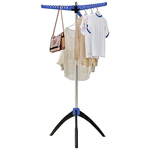 FKUO Foldable Clothes Drying Rack Portable Tripod Garment Tree FreeStanding Collapsible Drying Rack for Hanging Laundry Blue