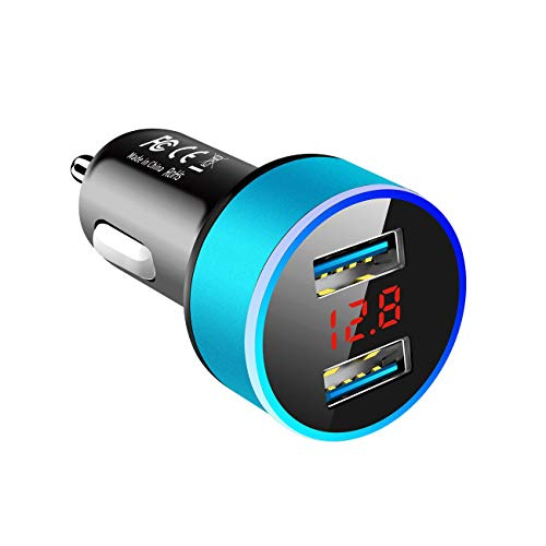 Ashley GAO Cargador de coche USB dual 3.1A con pantalla LED Cargadores de coche universales para teléfono móvil Adaptador de carga rápida