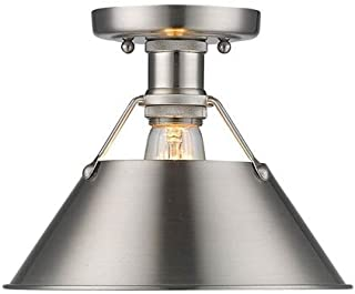 golden Lighting 3306-FM PW One Light Flush Mount Slvr
