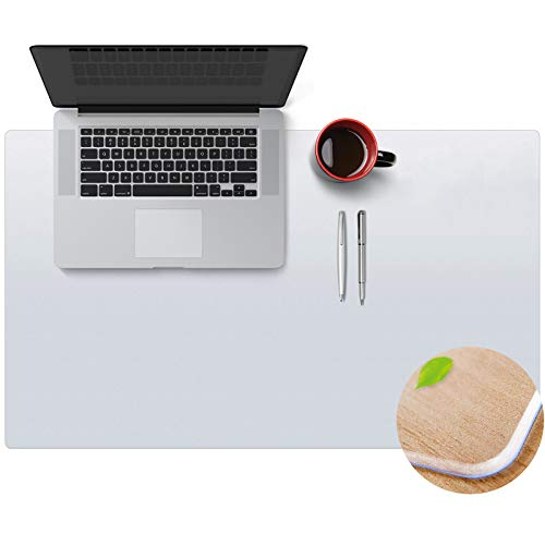 """Clear Non-Slip Writing Desk Pad for Home Office, WASJOYE 36"""" x 20"""" PVC Thicken Desk Table Protector Transparent Mouse Mat, Waterproof Heat Resistant Round Edges Textured Area Cover Rug, Easy Expanded"""