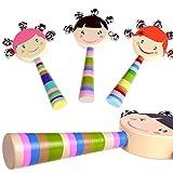 F-blue Baby-Lächeln Gesichter Natürliches Holz Handglocken Rattles Ring Spielzeug aus Holz Hand Educational Klingel Ring Spielzeug für Kinder/Kinder zufälliger Farbe