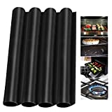4 Pack Oven Liners Mats for Bottom of Electric Gas Oven, Reusable Nonstick Oven Protector Liner Heat Resistant Grill Mats for Outdoor Grill 16 x 24 inch