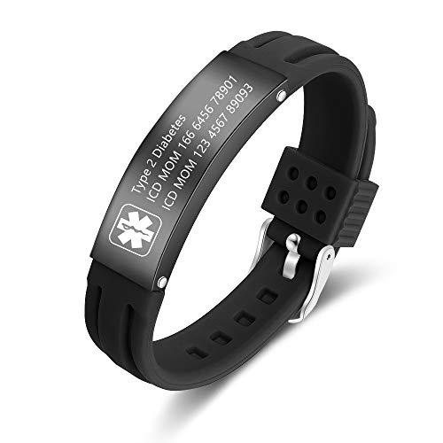 Medic Alert Bracelets for Men Mens Medical Bracelet Silicone Mens Medical bracelet Type 1 Diabetes Bracelet for Women Free Engraving