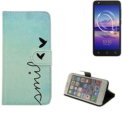 K-S-Trade® Schutzhülle Für Alcatel U5 HD Single SIM Hülle Wallet Case Flip Cover Tasche Bookstyle Etui Handyhülle ''Smile'' Türkis Standfunktion Kameraschutz (1Stk)