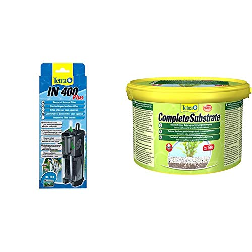 Tetra IN 400 Plus Innenfilter, zur biologischen und chemischen Filterung geeignet für Aquarien bis 60 Liter & Complete Substrate für Pflanzenwachstum und weniger Wasserbelastung Neueinrichtung, 5 kg