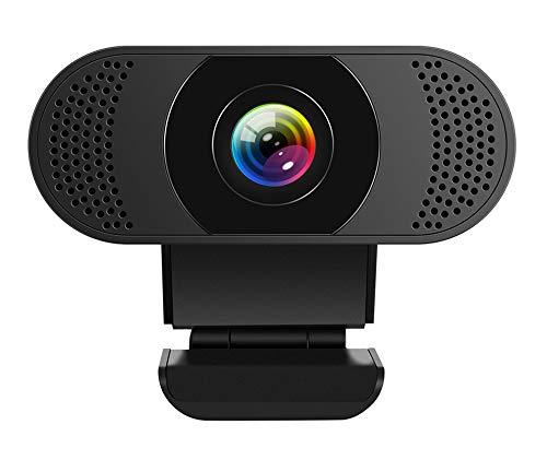 Kaulery Webcam con micrófono con cancelación de Ruido, cámara Web PC HD 1080P, cámara Web USB Plug and Play para transmisión, videollamadas, Estudio en línea, Conferencia, grabación, Juegos