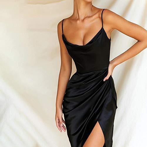 Hübsche Kleid Kleider Dress Damen Kleid Frauen Satin Partykleid Schwarz V-Ausschnitt Höhe Seite Split Sexy Minikleid Frauen Rüschen Skinny...