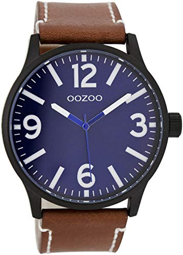 Oozoo Herrenuhr mit Lederband 45 MM Black/Dunkelblau/Braun C7406
