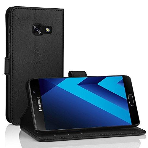 Simpeak Hülle Kompatibel für Samsung Galaxy A5 2017, Handyhülle Kompatibel mit Galaxy A5 2017 Leder Flipcase (Schwarz)