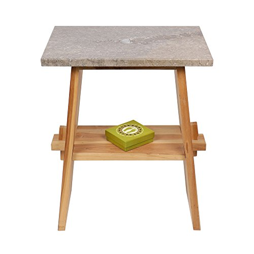 wohnfreuden teakhout wastafel onderkast Zen + marmeren plaat grijs 60x40x74cm