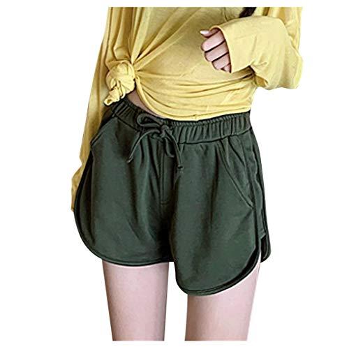 WGNNAA Damen Shorts Yoga Sporthose Kurz Hosen Trainingshose Freizeithose Hohe Taille Fitness Shorts Schlafhose Laufshorts Atmungsaktiv Pajama Shorts