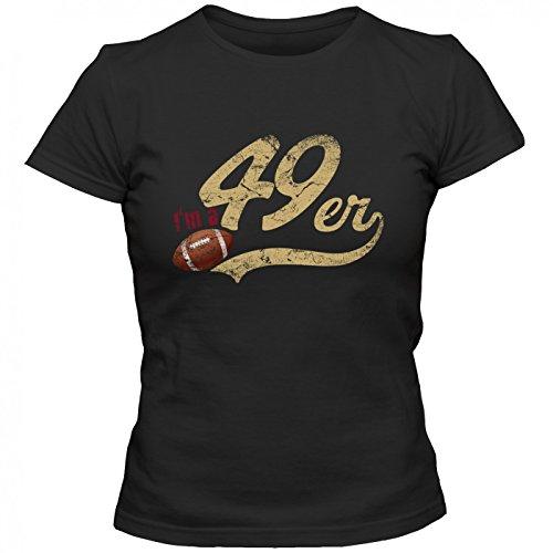 I'm a 49er #1 Premium T-Shirt FootballShirt Play Offs USA Frauen Shirt, Farbe:Schwarz (Deep Black L191);Größe:L