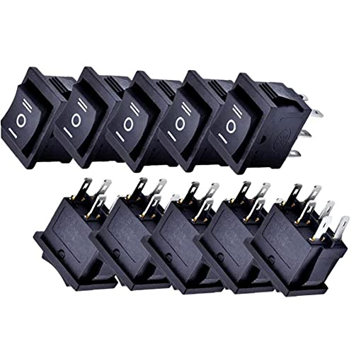 Ruluti 10 unids en el Interruptor de rockero Mini Interruptor de Barco Presione el botón de Palanca del Interruptor para el automóvil Auto Boat Aparatos domésticos Negro