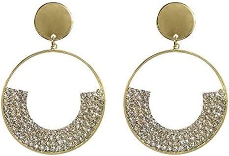 Shining Diamond Dangle Earrings Luxury Elegant Temperament Style Rhinestone Large Hoop Earrings For Women Girls Fashion Jewelry