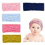ANSUG Baby Mädchen Stirnbander, 5 Stück Kinder Baby Turban Stirnbänder Stretchy Haarband Turban Headwrap für Neugeborene Kleinkind