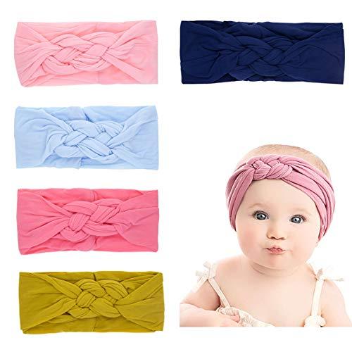 ANSUG 5 Piezas Diademas Bebe niña Recien Nacido Diademas de Nudo Cinta para Pelo de Algodón para Cabeza Accesorio para El Pelo