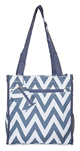 Ever Moda Chevron Tote Bag (Grey)