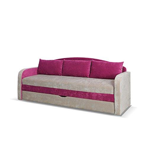 Mirjan24 Schlafsofa Tenus, Sofa Couch mit Bettkasten und Schlaffunktion, Bettsofa Schlafcouch, Gästebett Schlafzimmer (Ibiza 03 + Ibiza 21)