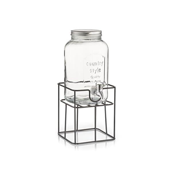 Zeller Soporte para Bebidas dispensador, Metal, Negro, 16.5 x 16.5 x 19